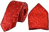#2: Ammvi Creations White Spots Red Textured Jacquard Microfiber Premium Mens Tie Pocket Square Set