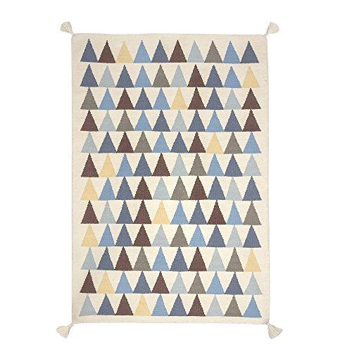 Preisvergleich Produktbild Für Kinder, 140 x 200 cm - 100 Prozent handgeknüpft hochwertige, robuste und schöne Virgin Wool Kilim-Teppich, Blau