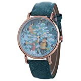 Junjie Damen Uhr Analog Armbanduhr Kinder Fitness Frauen Weihnachten Muster Quarzuhr Lederband Gürtel TischuhrSmartwatch wasserdicht Buckle Wasserdichte Armband Sport Quarz Glass Leather Charming