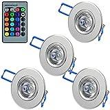 MENGS® 4 Stück 3W RGB LED-Decken-Kabinett-Licht-Lampe Downlight Spotlight Leuchtmittel (180lm, AC 85-265V, 54 X 32mm) + Fernbedienung