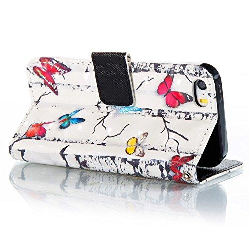 iPhone 5SE Hülle,iPhone 5S Tasche,TOYYM Ultra Dünn PU Leder Flip Cover Brieftasche Wallet Case Klapptasche Etui,3D Muster Design Folio Bookstyle Lederhülle Schutzhülle mit Kartenhalter Standfunktion M Bunter Schmetterling