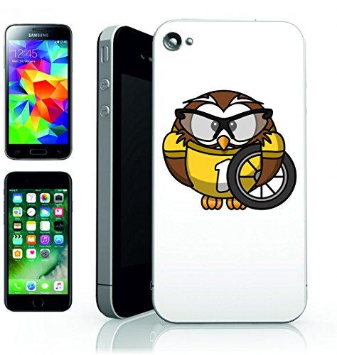 Smartphone Case Gufo Animale della bicicletta dell Uccello del Ciclista divertente di occhiali della ruota della Corsa di ciclismo di sport della veloce per Apple Iphone 4/4S, 5/5S, 5C, 6/6S, 7&