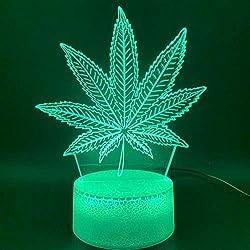 Nachtlicht 3D Illusion Led Nachtlicht Lampe Botanik Cannabis Marihuana Büro Bar Zimmer Dekorative Lampe Usb Oder Batteriebetriebenes Nachtlicht