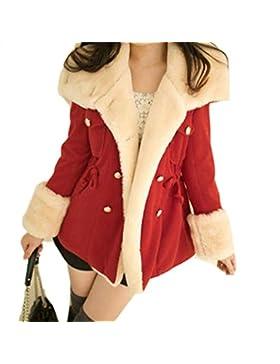Koly Las mujeres capa del invierno caliente doble de pecho chaqueta de mezcla de lana