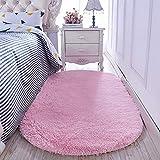 GOMAR Rosa SAMT Teppich Erkerfenster Pad Oval Teppich Matte Schlafzimmer Wohnzimmer Teppiche, 80 * 160 cm