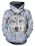 Idgreatim Mujeres 3D Impreso Wolf Sudadera Con Capucha Personalizada Fleece Sudadera Con Capucha...