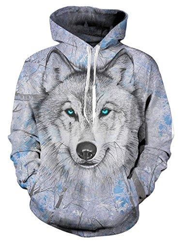 Bedruckte Wolf Hoodies Personalisierte Fleece Kapuzen Sweatshirt XX-Large ()