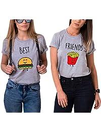 Ziwater Best Friends T-Shirt für 2 Mädchen mit Aufdruck Burger und Pommes  Lustige Passende cfbd4ba1b7