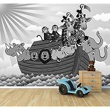 """Bilderdepot24 Fotomural """"Los niños wallpaper - Arca de Noé de la historieta - blanco y negro"""" 155x100 cm - Papel tejido-no tejido. Fotomurales - Papel pintado - la fabricación made in Germany!"""