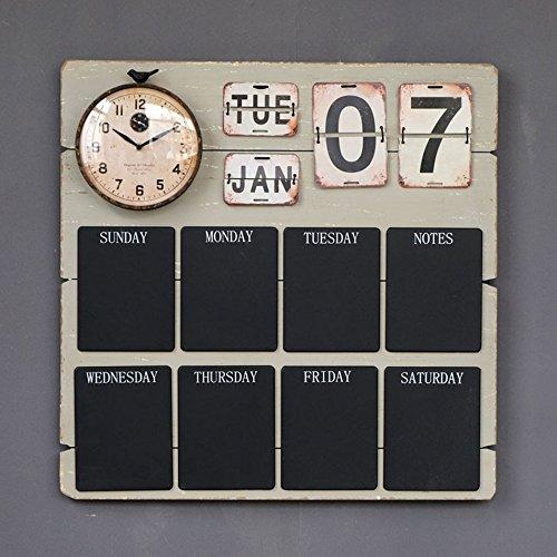 Wall Clock-1 CGN Retro Wanduhr, Multifunktions Wanduhr mit Kalender Nachricht kleine Tafelwand Cafe Bar Wanduhr Hauptwand Dekoration Wanduhr 70 * 70cm Persönlichkeit (größe : 70 * 70cm)