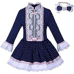 Lajinirr Winter Mockneck vestidos de lunares con Hairband, 2 años