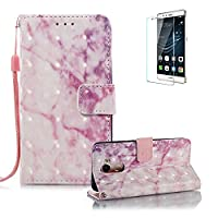 For Huawei Honor 6A Case,Funyye Practical Fashionable New 3D Marble Pattern PU Leather Magnetic Flip Folio Book Style 2017 Version with Built in Stand and Front/Back Protection Slim Fit Phone Smart Cover Case for Huawei Honor 6A - Pink