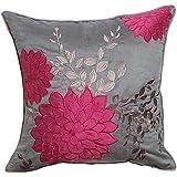 lumimi Pastoral Floral bordado Faux Suede decorativo funda de almohada