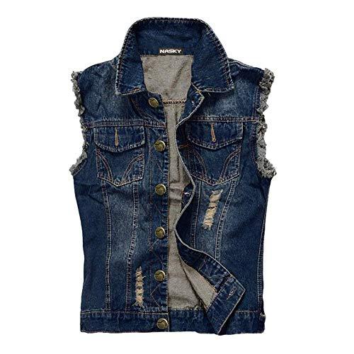 Nasky uomo in forma retro strappato demin jeans gilet giacca panciotto della maglia della maglia della parte superiore (large, dark blue)