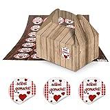 10 kleine braune Geschenkboxen Schachteln Holz-Optik 9 x 12 x 6 cm ohne Griff + runde rot weiß karierte Aufkleber selbstgemacht mit Herzen 3 cm als Geschenk-Verpackung