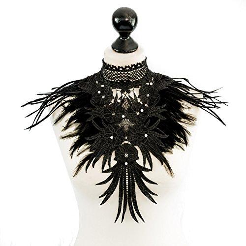 SiaLinda: Brustschmuck Joelle II, schwarz, mit Spitzen, Federn und (Sub Und Dom Kostüm)