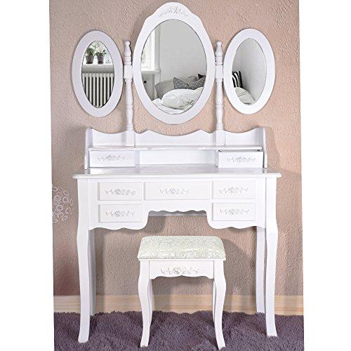 Yulie Modern Coiffeuse Table de Maquillage en MDF avec 7 Tiroirs 3 Miroirs Tabouret