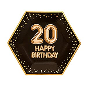 Neviti- Glitz and Glamour Birthday Black & Gold-Large Plate-Age 20 Papel, Color black/gold, 27 x 0.5 x 27 (774373)