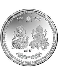 ARIHANT GEMS & JEWELS Silver Coin10 gm. Laxmiji Ganeshji Silver (999) Coin