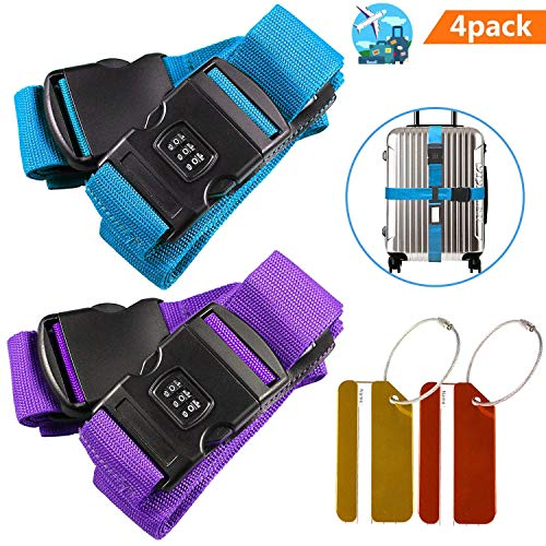Ajustable Correas de equipaje, correas de maleta antideslizantes + clip de bloqueo de contraseña + 2 etiquetas de equipaje gratis para el cierre seguro de su maleta e identificar su equipaje