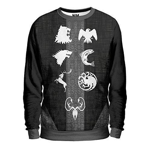 CASATE (V.2) TRONO DI SPADE Sweatshirt - Felpa Uomo - Baratheon Stark Lannister Arryn Tyrell Greyjoy Martell Targaryen, George Martin Game of Thrones T-Shirt