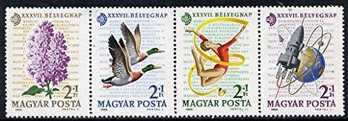 Hungary 1964 Stamp Day (Flowers, Birds, Gymnastics & Rocket) se-tenant perf strip of 4, Mi 2053-56 u/m POSTAL SPORT SPACE JandRStamps