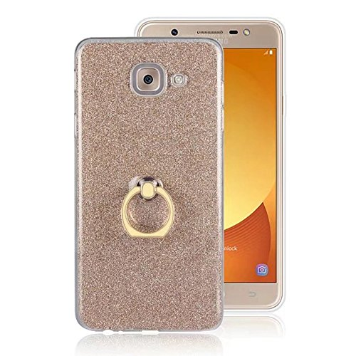 Soft Flexible TPU Back Cover Case Shockproof Schutzhülle mit Bling Glitter Sparkles und Kickstand für Samsung Galaxy J7 Max ( Color : White ) Gold