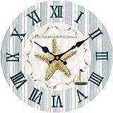 Hylaea Starfish Boat Horloge Murale En Bois Accueil Décoration Murale Marine Coastal Nautical Beach 35CM