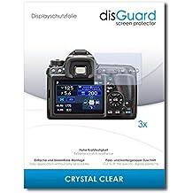 3 x disGuard Crystal Clear Lámina de protección para Pentax K-3 II / K3-II - ¡Protección de pantalla cristalina con recubrimiento duro! CALIDAD PREMIUM - Made in Germany