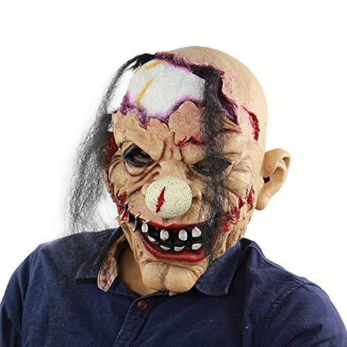 Unheimlich Latex Maske Zombie Clown Horror Masken Old Tooth Halloween Blut Masken Hood/Zombie Festival (Old Captain America Kostüm)