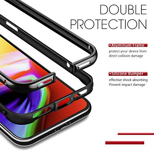iPhone X Hülle, Humixx Eloxierten Aluminium Rahmen Mit Inneren Silikon Schutzhülle Bumper Leichte Stoßdämpfung Metall & TPU Huelle bumper case für iPhone X [Extre Series] (Silber) Jet Schwarz