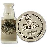 Taylors Sandalwood Shaving Cream 150g Tub and Super Badger Hair Shaving Brush Set