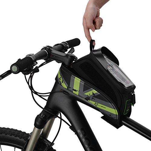 RockBros Fahrrad Rahmentaschen Wasserfeste Taschen Für Bild Schirm 5.8''/6.0'' (Grün, 6.0 Zoll)