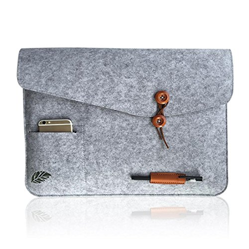 Laptoptasche Sleeve Schutzhülle Tasche Filz 11-15 Zoll für iPad Air Macbook Notebook Laptops grau Bugat (Leopard Laptop-tasche)