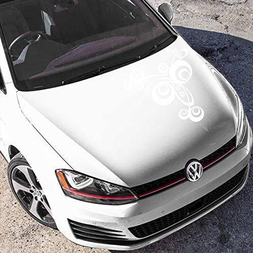 INDIGOS UG Aufkleber - Autoaufkleber Retro Swirl 60cm x 56cm Weiß - Tuning Carystyling Heckscheibe Auto