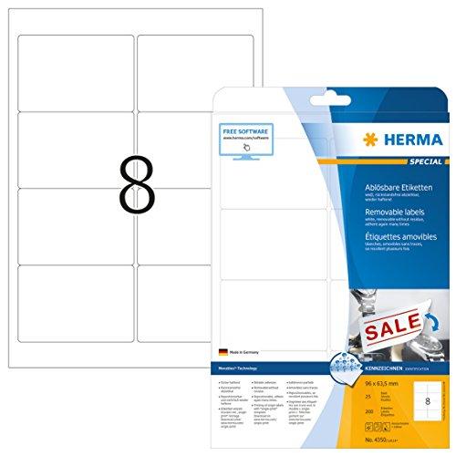 Herma 4350 Universal Etiketten ablösbar, wieder haftend (96 x 63,5 mm) weiß, 200 Klebeetiketten, 25 Blatt DIN A4 Papier matt, bedruckbar, selbstklebend, Movables