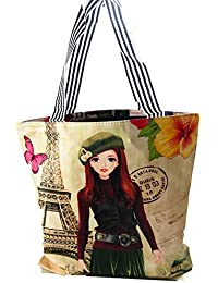 043547995c69 RangTeq Canvas Multipurpose Shopping Bag with Zipper for Women (Multicolour)
