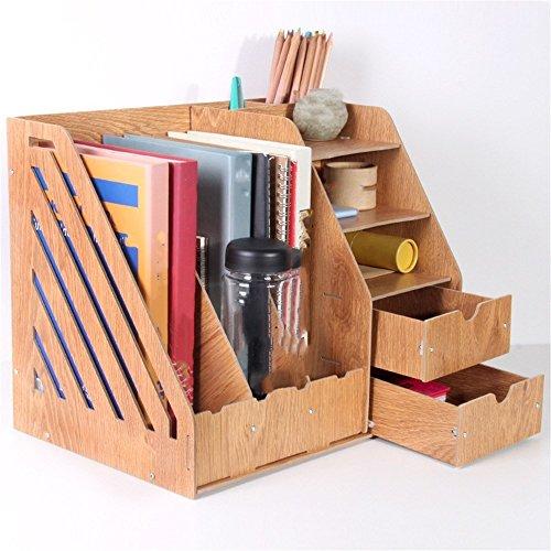 Holz- desktop-Datei rack Multifunktional Regal Bürobedarf Schublade Aufbewahrungsbox, Eiche (Datei Rack Für Die Schublade)