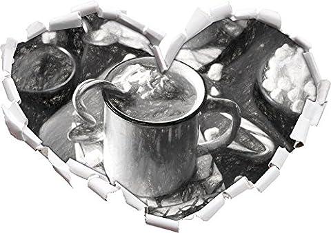 heisse Schokolade mit Zuckerstange Kunst Kohle Effekt Herzform im 3D-Look , Wand- oder Türaufkleber Format: 92x64.5cm, Wandsticker, Wandtattoo, Wanddekoration