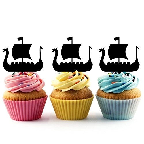 Viking Ship Silhouette Party Wedding Birthday Acrylic Cupcake Toppers Decor 10 pcs