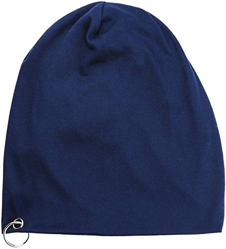 FAS Blue Cotton Slouchy Beanie and Skull Cap