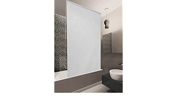 HALB-KASSETTEN DUSCHROLLO 120x240 CM PEVA MILKY STONE TRANSPARENT OPTIK SHOWER ROLLO CURTAIN!