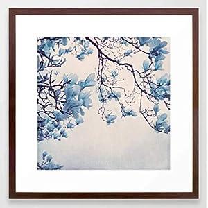 Fotografie Print Kunstdruck 12x12cm Magnolie blau Quadrat