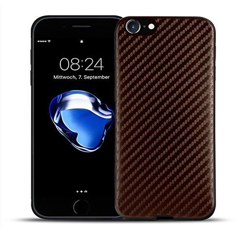 Ultraslim TPU Backcover - Case in Carbon Look für - Apple iPhone 7 Plus - Rückschale Bumper aus Silikon Farbe: Schwarz Braun