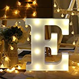 ODJOY-FAN 26 Englisch Brief Licht LED Letter Light Alphabet LED Beleuchtung Licht Oben Weiß Kunststoff Briefe Stehen Hängend A-M Wohnaccessoires Lichter Zubehör (E,1 PC)