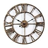 CT-Tribe Eisen wanduhr Vintage Wanduhr Römische Ziffern Wand Uhr Wall Clock Home Dekorationen Ø 47cm - Golden