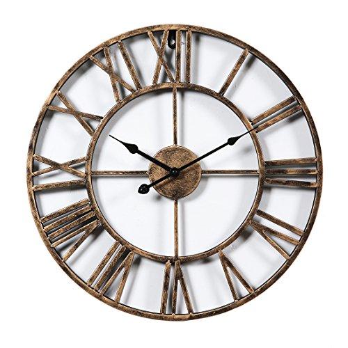 OviTop Wanduhr Vintage Lautlos Wanduhr Groß 50cm Wanduhr Metall Dekorative Wanduhr Ohne Tickgeräusche für küche Wohn- und Schlafzimmer - Golden