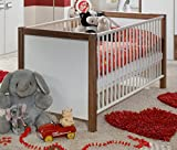 Dreams4Home Babybett 'Sky', 70 x 140cm, Kinderzimmer, Babyzimmer, Gitterbett, Farbe:Nussbaum