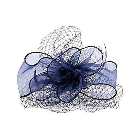 MagiDeal Dame Fascinator Fleur Organza Plume Serre-tête avec Voilette pour