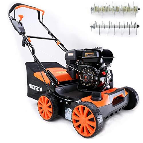 FUXTEC 3in1 Benzin Vertikutierer BV140 (4 kW, 212ccm, 40 cm Arbeitsbreite, 45 l Fangsack, empfohlen für noch gesünderen Rasen